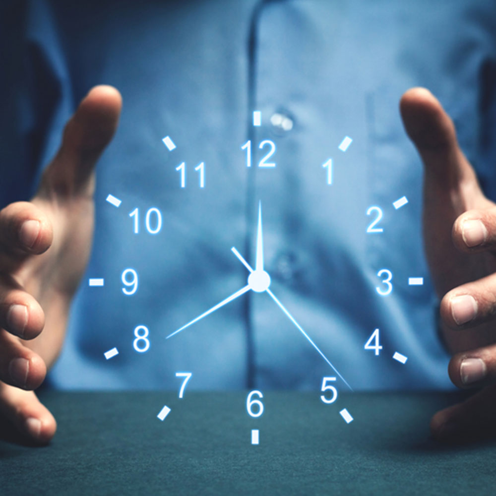 Man showing clock in the air with concept of timeliness of loan