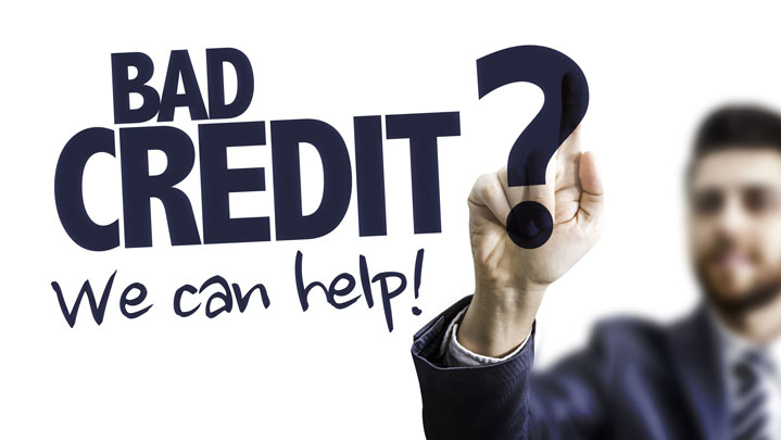 Man pointing at text: Bad Credit? We Can Help!